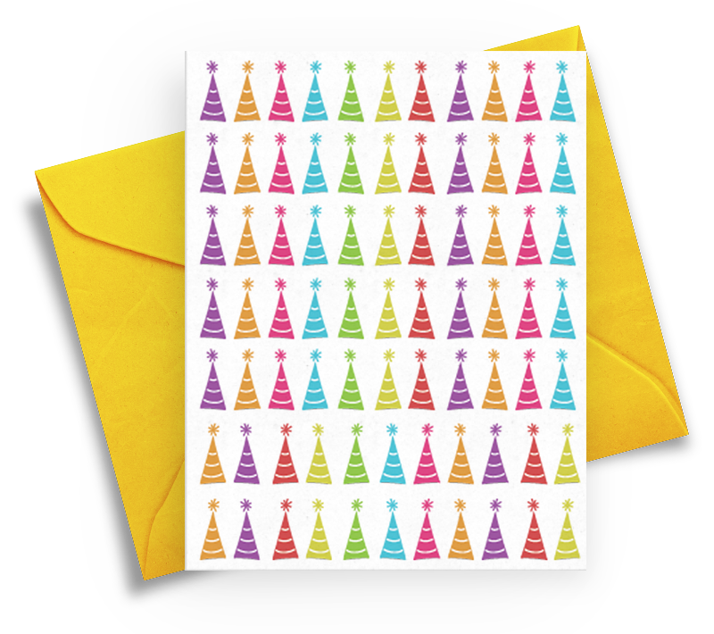 Colorful Happy Birthday Card with Party Hats