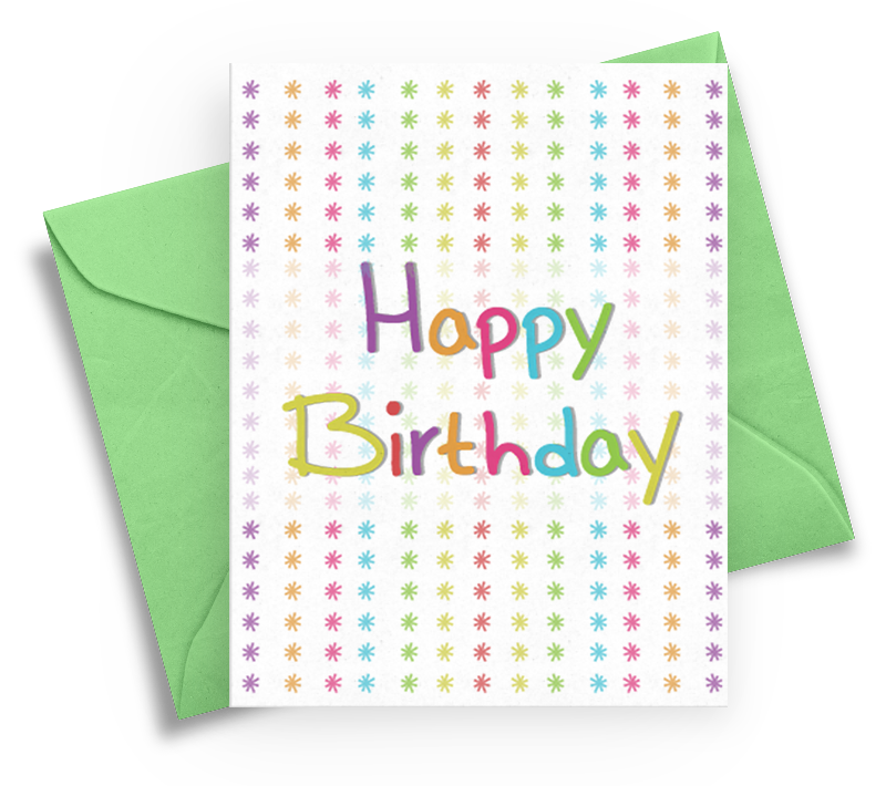 Happy Birthday Card with Colorful Stars
