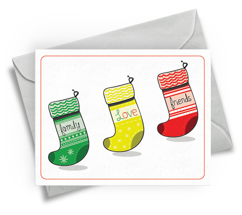 Christmas Card for Friends - Stockings Design
